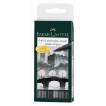 Faber-Castell Tuschestift PITT artist pen B Shades of grey 6 St./Pack.