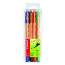 STABILO® Feinschreiber GREENpoint®, Tamponsystem, 0,8 mm, Schreibfarbe: rot, grün, blau, schwarz, 4 St./ Pack