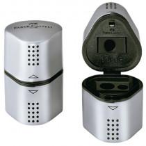 Faber-Castell Dreifachspitzdose GRIP 2001, Dreikantform, für Stifte: 8 und 10 mm, Spitzer: Kunststoff, Behälter: Kunststoff, silber