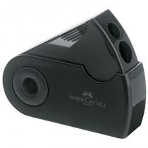 Faber-Castell Doppelspitzdose SLEEVE, Vierkantbehälter, für Stifte: 8 und 10 mm, Spitzer: Kunststoff, Behälter: Kunststoff, schwarz