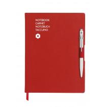 Caran d'Ache Notizbuch OFFICE A5 liniert rot mit Kugelschreiber 849 weiß