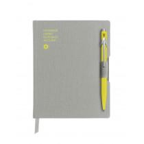 Caran d'Ache Notizbuch OFFICE A6 liniert grau mit Kugelschreiber 849 gelb